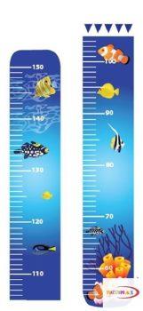 Magasságmérő falmatrica - Színes halak magasságmérő kicsiknek