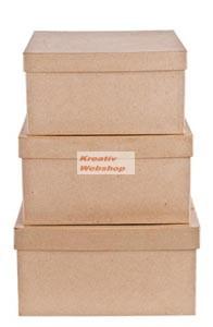 Papírdoboz készlet tetővel, szögletes, 3 db-os, 25x25x13,5 cm