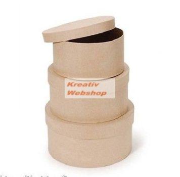 Papírdoboz készlet tetővel, natúr, kerek, 3 db-os, 14-12-10 cm méretű