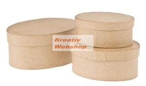 Papírdoboz készlet tetővel, natúr, ovális, 3 db-os: 14-12-10cm