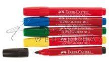 Textilfestő filctoll készlet, - Faber-Castell - Piros, sárga, kék, zöld, fekete