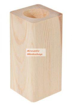 Díszíthető mécsestartó, álló,  13 x 6x6 cm, natúr fa