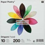 Origami papír - Pasztell - 10 színű hajtogató készlet 15x15 cm, 200 lap