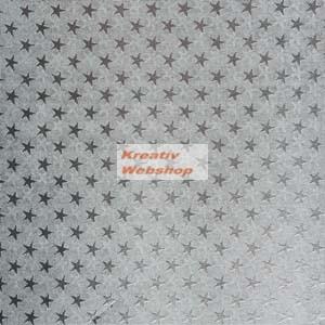 Ezüst színű csillagos dombornyomásos alufólia tekercs, 10mx50cm