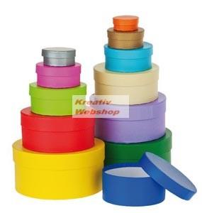 Papírdoboz készlet tetővel, színes, kerek, 12 db-os
