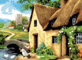 Kifestő készlet számokkal, ecsettel, felnőtteknek - 30x40 cm - Falusi ház