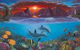 Kifestő készlet számokkal, ecsettel, felnőtteknek - 30x40 cm -  Élet a tengerben