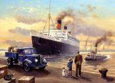 Kifestő készlet számokkal, ecsettel, felnőtteknek - 30x40 cm -  Óceánjáró a kikötőben