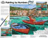 Óriási méretű kifestő készlet számokkal, ecsettel, felnőtteknek - 51x41 cm - Tengeröböl halászhajókkal