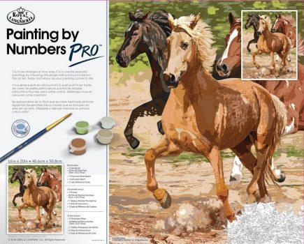 Óriási méretű kifestő készlet számokkal, ecsettel, felnőtteknek - 51x41 cm - Galoppozó lovak