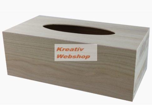 Papírzsebkendő tartó fadoboz, alulról tölthető, 25x13x9cm, 22x12x8cm vagy 17x12x7.5cm