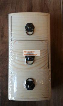 Díszíthető fa komód 3 fiókkal - kb. 19x9x8cm