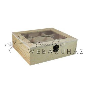 Díszíthető teafilter tartó, 9 nagyméretű rekesszel.  22 x 19 x 7 cm, teafiltertartó