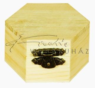 Fa doboz, hatszögletű, natúr fadoboz 6x6x4cm