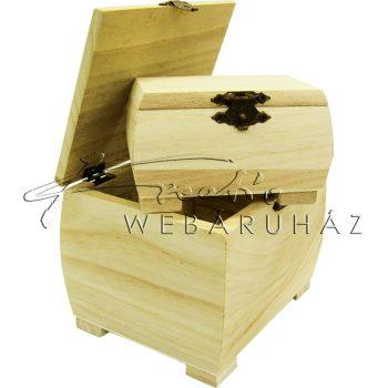 Díszíthető fa doboz készlet, 2 darabos, lábakkal 12,5 x 9,5 x 9,5 cm