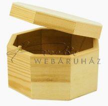 Fa doboz, nyolcszögletű, natúr fadoboz, nem kapcsos, kb. 13x13x8cm