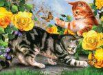 Kifestő készlet akrilfestékkel, ecsettel, gyerekeknek - 30x40 cm - Számos kifestő készlet - Cicák játszanak sárga rózsák között
