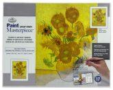 Kifestő készlet vászonra, akrilfestékkel, ecsettel, felnőtteknek - 23x31 cm - Van Gogh: Napraforgók