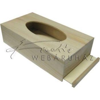 Papírzsebkendőtartó, natúr fából, ovális kivágással, 26x14x7cm