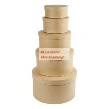 Díszíthető papírdoboz készlet, közepes méretű, natúr, kerek 5 db-os: 21-18-16-13-10cm