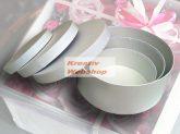 Papírdoboz készlet, kerek fehér dobozok, FEHÉR, 12-10-8cm