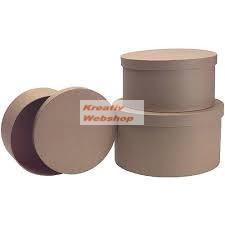 Papírdoboz készlet, kicsi méretű, natúr, kerek 3 db-os: 8-7-6cm