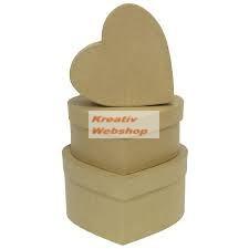 Papírdoboz készlet, natúr, szív alakú, kicsi 3 db-os: 8-7-6cm