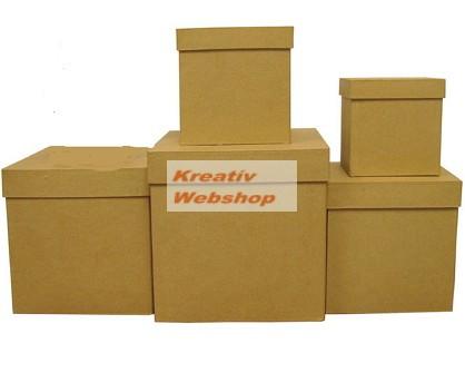 Díszíthető papírdoboz készlet, kocka alakú dobozok, NATÚR, 17-15-13-11-9cm