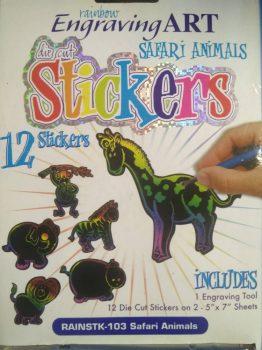 Hűtőmágnes! Képkarcoló készlet karctűvel - Szivárványos - Szafari állatok