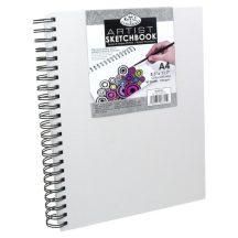Vázlattömb, személyre szabható, fehér vászonkötéses spirálos - Royal SketchBook A4