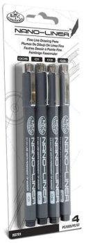Tűfilc készlet, Nano-Liner: 0,005; 0,01; 0,02 és 0,03 mm, fekete, 4db-os készlet