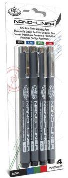 Tűfilc készlet, Nano-Liner: 0,05 mm, fekete, piros, kék, zöld - 4db-os készlet
