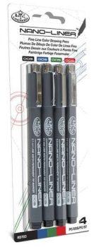 Tűfilc készlet, Nano-Liner: 0,02 mm, fekete, piros, kék, zöld - 4db-os készlet