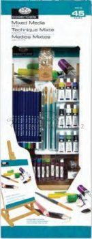 Óriás művészkészlet, nagy asztali álló festőállvánnyal, vegyes - Royal Mixed Media 45 részes szett
