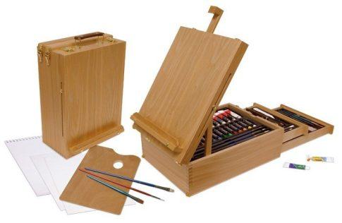 Óriás akril, olaj és akvarell művészkészlet, dobozos asztali festőállvánnyal, natúr - Royal Mixed Media 104 részes szett, 40x30x16 cm