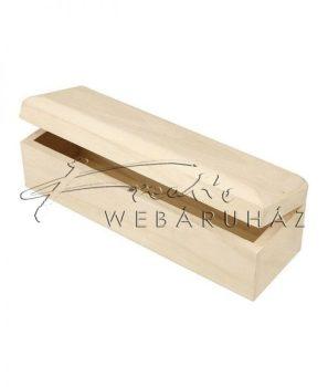 Natúr fából készült hosszúkás doboz, keskeny ajándékdoboz kb. 20x6x6cm