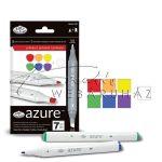 Filctoll készlet, AZURE Marker, 6+1 db-os, Alapszínek