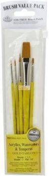 Kreatív hobby - Ecsetkészlet - Gold taklon, lapos és kerek - 5 darabos készlet