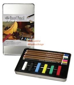 Pasztell készlet fém ceruzatartóban - Ajándékkészlet fémdobozban Karácsonyra