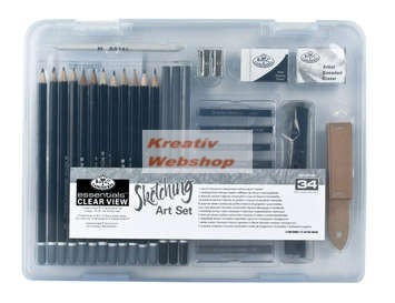 Kreatív hobby - Grafikai készlet  - Divatos áttetsző táskában - Royal kezdő készlet vázlatkészítéshe