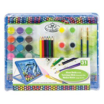 Műanyag festőállványos művészkészlet gyerekeknek - Royal 31 részes