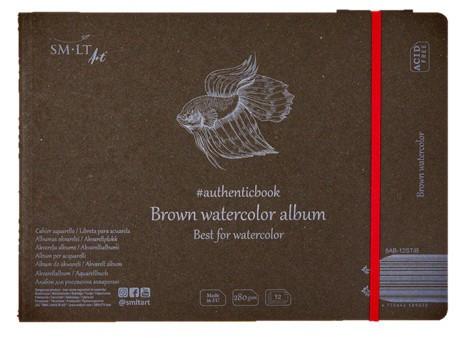 Vázlat- és festőtömb - SMLT Brown watercolor authenticpad, gumis - barna, 280gr, 12 lapos 17,6x24,5cm méretű
