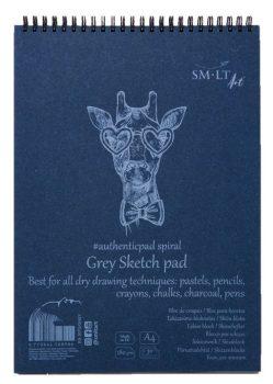 Vázlattömb - SMLT Grey Sketch authenticpad, spirálos, mikroperforált - szürke, 180gr, 20 lapos A5