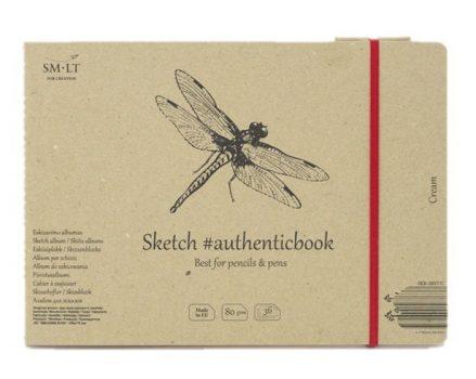 Vázlattömb - SMLT Sketch authenticbook - Krémszínű, 80gr, 36 lapos, 17,6x24,5cm