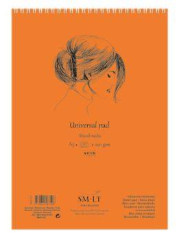 Vázlat- és festőtömb - SMLT Drawing spirálos, mikroperforált - Mixed Media, 200gr, 40 lapos A4