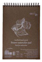 Vázlattömb - SMLT Brown watercolor authenticpad, spirálos - barna, 280gr, 35 lapos A4
