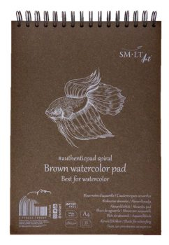 Vázlattömb - SMLT Brown watercolor authenticpad, spirálos - barna, 280gr, 35 lapos A4