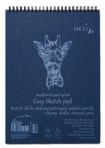 Vázlattömb - SMLT Grey Sketch authenticpad, spirálos, mikroperforált - szürke, 180gr, 30 lapos A4