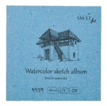 Akvarell mini album - SMLT Watercolor sketch album 280gr, 24 lapos, 14x14cm
