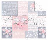 Kartonpapír - Just Married, esküvői, szerelmes hattyúk + feliratok mintás Karton